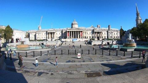 London / United Kingdom (UK) - 01 31 2020: London England, circa : Timelapse Trafalgar Square in London City, England, UK