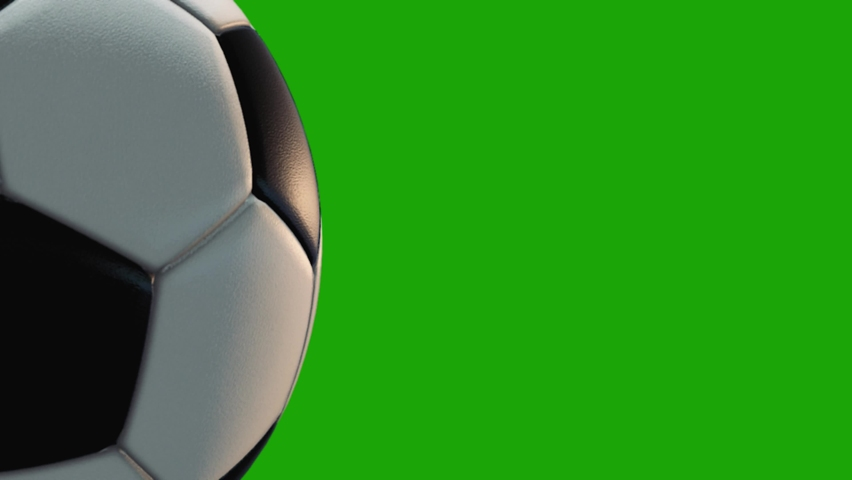4K 3D Close up animation soccer ball. Ball rotated 360 loop on green screen.