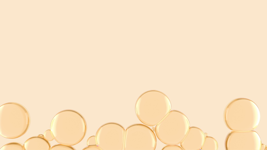 Golden Oil Bubbles in water grows from bottom to top filling space. Viscous liquid bubbles motion animation. Concept of natural essential oil for cosmetics. Macro 3D render of fluid flow. Royalty-Free Stock Footage #1062710092