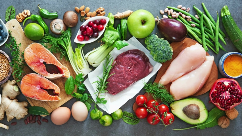 Balanced Diet Food Background. Organic Food For Healthy Nutrition, Superfoods, Meat, Fish, Legumes. Royalty-Free Stock Footage #1062710824