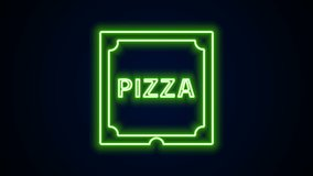 Glowing neon line Pizza in cardboard box icon isolated on black background. Box with layout elements. 4K Video motion graphic animation.