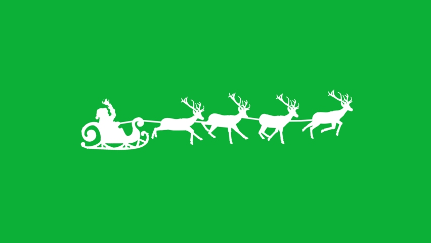 Santa on sleigh with Reindeer silhouette 4K animation on Green screen background - Santa Claus on Sleigh With Deer's  - Santa Claus holding a Bell on Sleigh