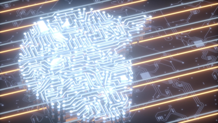 Digital Cyber artifical brain 4K Royalty-Free Stock Footage #1062728764