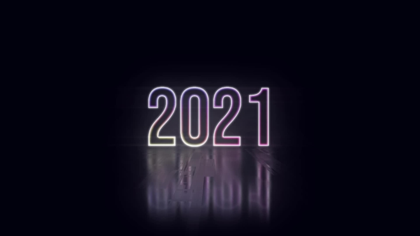 New Year 2021 neon sign light on black background New quality universal vintage motion dynamic animated background colorful video. Neon text. Modern trend design, night neon signboard | Shutterstock HD Video #1062738247