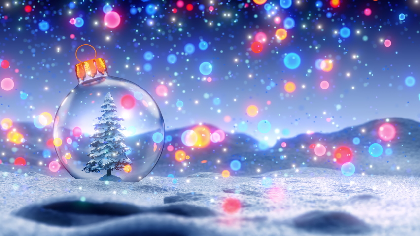 Snow Ball With Christmas Tree In It And Lights On Winter Background | Shutterstock HD Video #1062738421