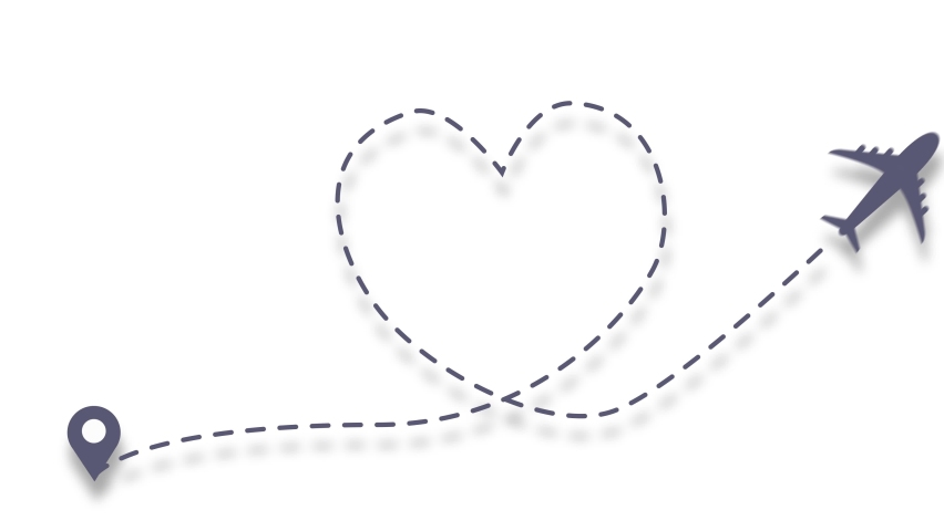 Love airplane route animation. Romantic travel symbol, heart dashed line trace. Movement of simple hearted airplane path, flight air dotted love valentine day invitation video.