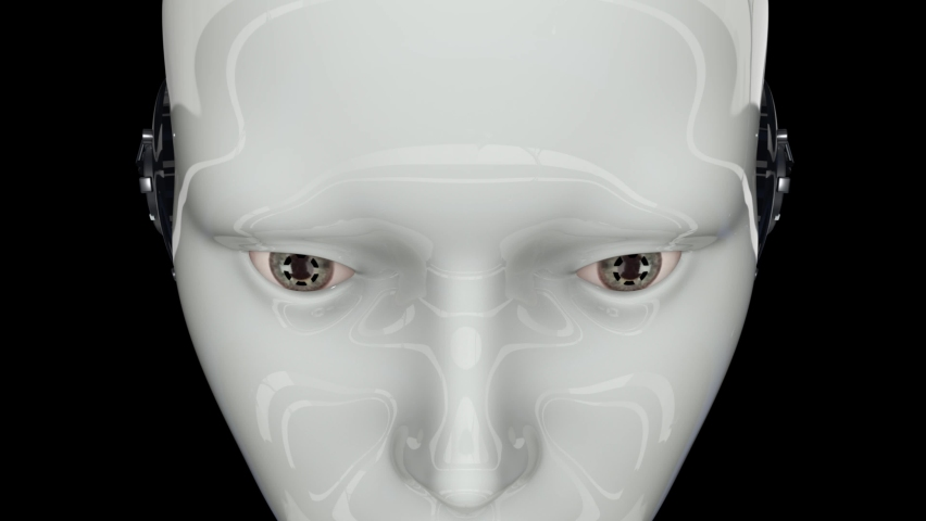 Artificial intelligence. Futuristic humanoid robot is activated, moves its head, eyes and scans the environment.The camera moves away. On a black background. 4K. 3D animation. | Shutterstock HD Video #1062771664