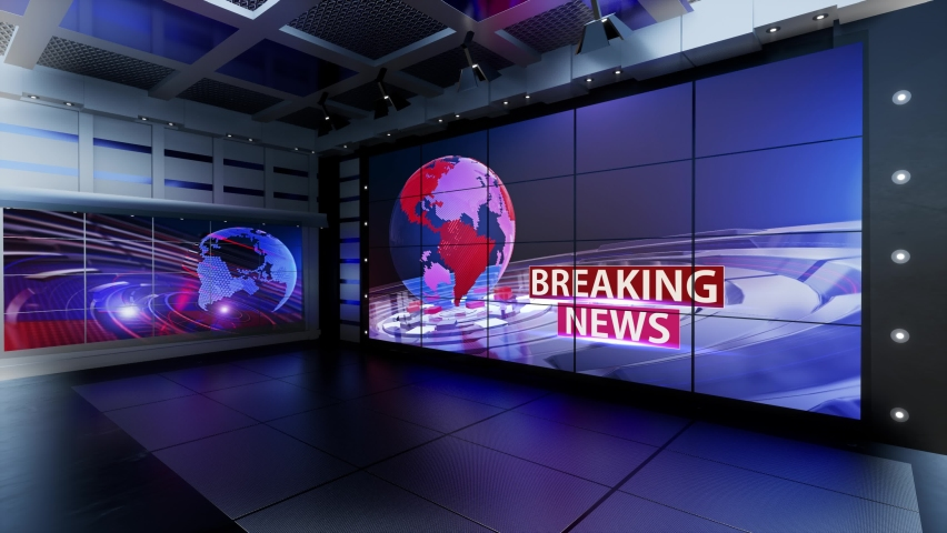 3D Virtual TV Studio News, Backdrop For TV Shows .TV On Wall.3D Virtual News Studio Background, Loop
