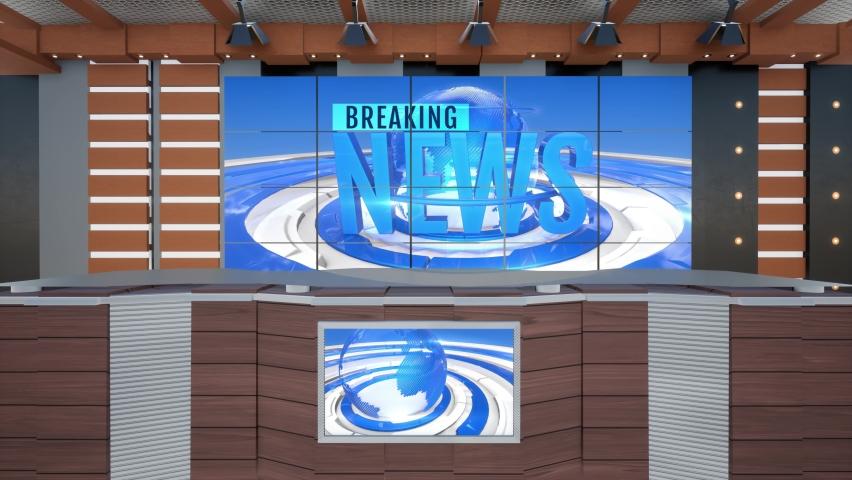 3D Virtual TV Studio News, Backdrop For TV Shows .TV On Wall.3D Virtual News Studio Background, Loop
