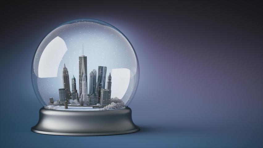 New York glass ball. Christmas snow globe. Christmas glass ball with New York.