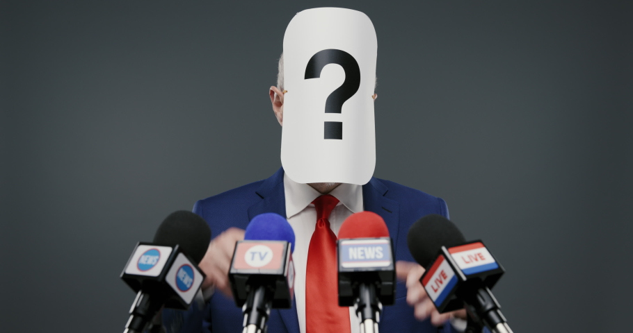 Politician with hidden face at the press conference, he is hiding his identity Royalty-Free Stock Footage #1062794437