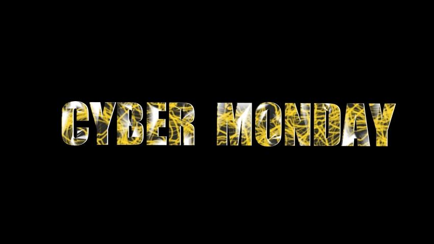 Cyber monday sale text. Cyber monday sale concept animation