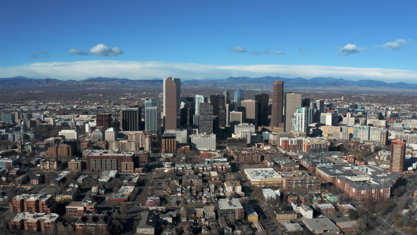 Cityscape of denver colorado from aerial view