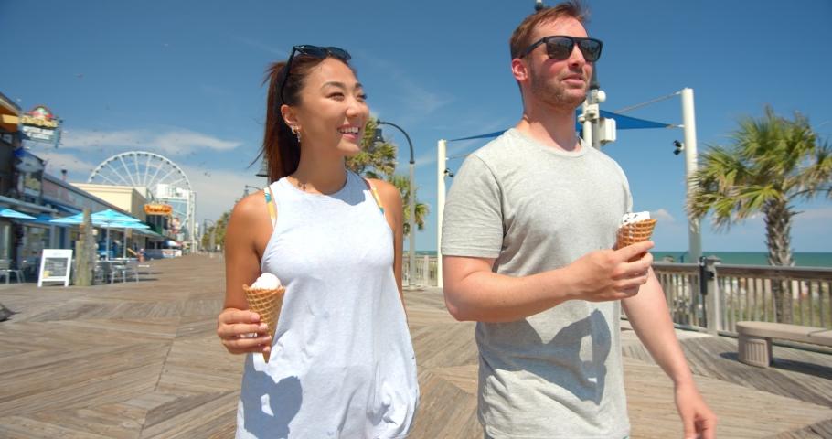 Cute Couple with Ice Cream on Boardwalk, Myrtle Beach, 4K
