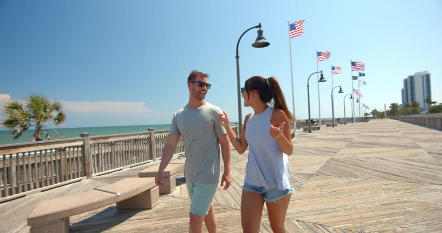 Cute Young Couple on Boardwalk, Myrtle Beach, 4K