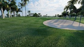 Large green golf course with green field, tree, palm and coconut and flag pole and bunker in sunrise 4k clip 3d rendering.