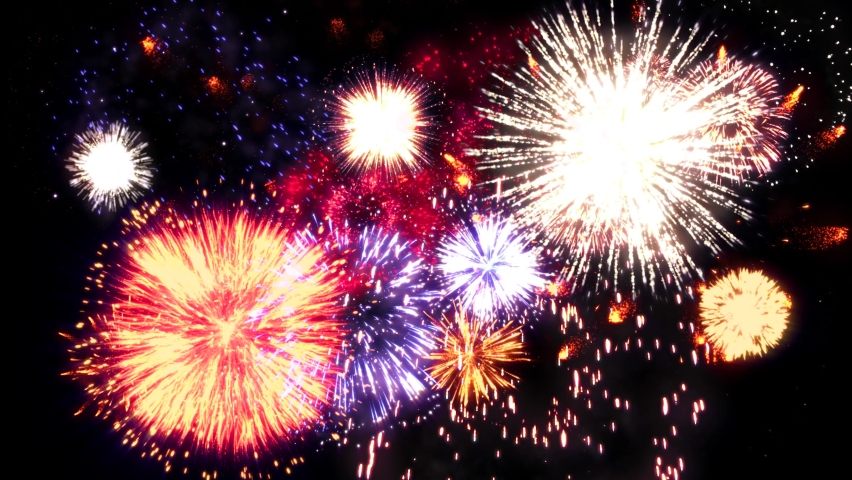 4K Colorful holiday fireworks background. abstract blur of real golden shining fireworks with bokeh lights in the night sky. glowing fireworks show. New year's eve real fireworks celebration. Royalty-Free Stock Footage #1062855160