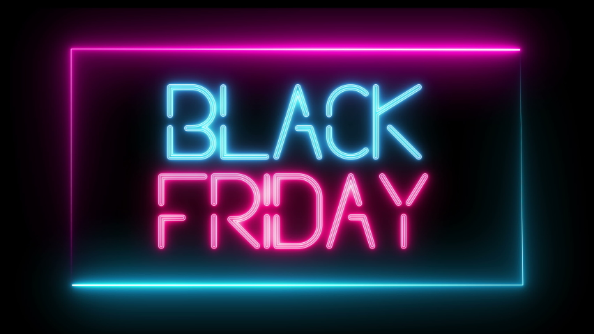 Animated black friday sign. neon effect, Light neon on black background. Royalty-Free Stock Footage #1062856084