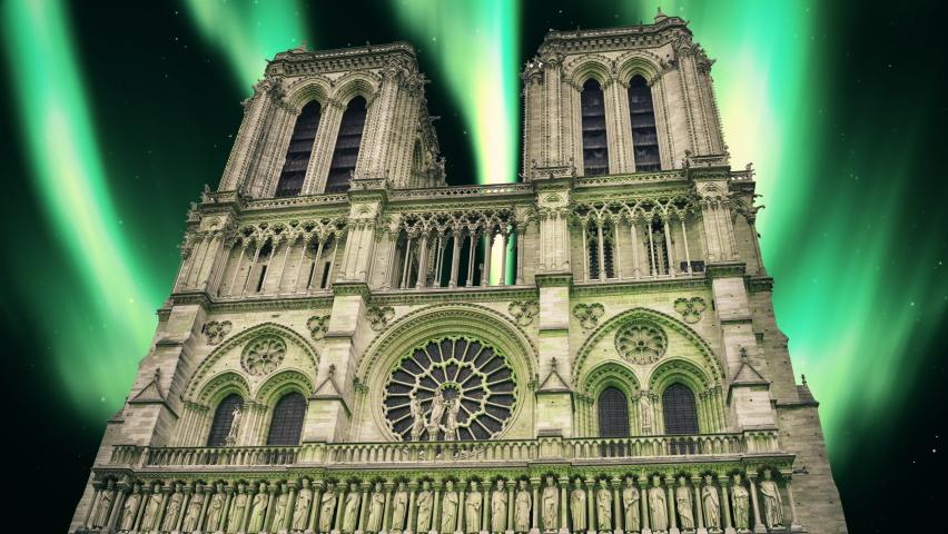 Notre Dame Paris Chatedral Paris northern lights Paris Notre Dame France Chatedral France northern lights France Notre Dame aurora borealis Chatedral aurora borealis northern lights aurora animation | Shutterstock HD Video #1062862330
