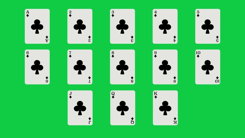 Unique Clubs suit playing cards Motion Reveal Full Set. With Green Screen. Suitable For Casino Commercials, Casino Games, Tutorials and More. Poker, Blackjack, Baccarat and Other Card Games. | Shutterstock HD Video #1062867151