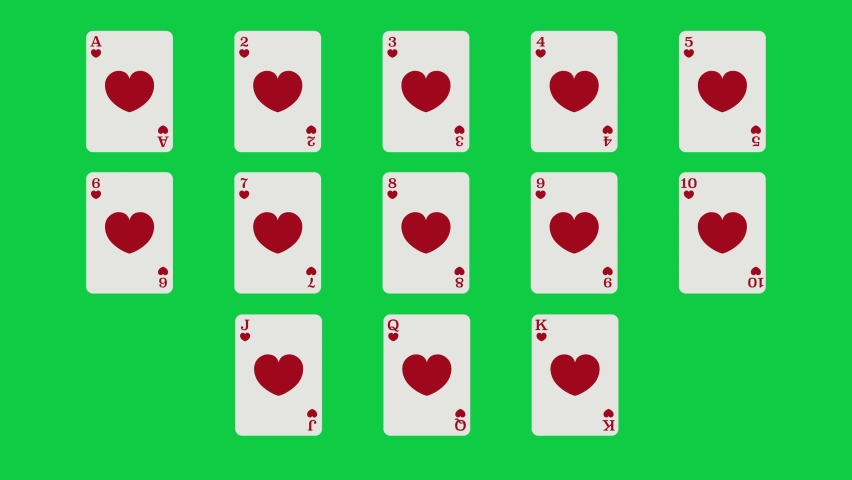 Unique Hearts suit playing cards Motion Reveal Full Set. With Green Screen. Suitable For Casino Commercials, Casino Games, Tutorials and More. Poker, Blackjack, Baccarat and Other Card Games. | Shutterstock HD Video #1062867166
