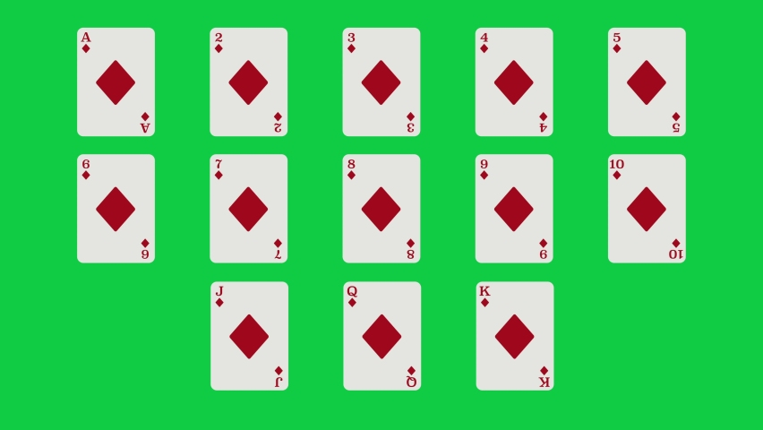 Unique Diamonds suit playing cards Motion Reveal Full Set. With Green Screen. Suitable For Casino Commercials, Casino Games, Tutorials and More. Poker, Blackjack, Baccarat and Other Card Games. | Shutterstock HD Video #1062867202