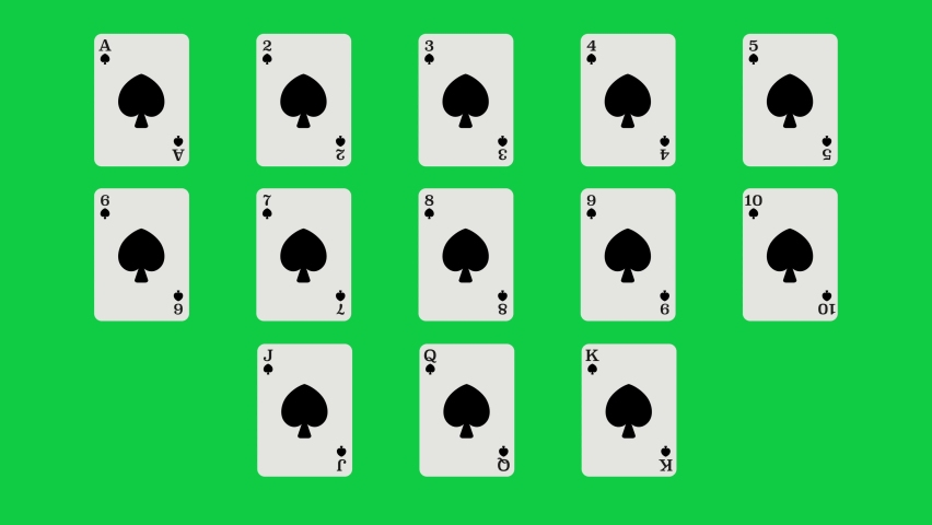 Unique Spades suit playing cards Motion Reveal Full Set. With Green Screen. Suitable For Casino Commercials, Casino Games, Tutorials and More. Poker, Blackjack, Baccarat and Other Card Games. | Shutterstock HD Video #1062867205