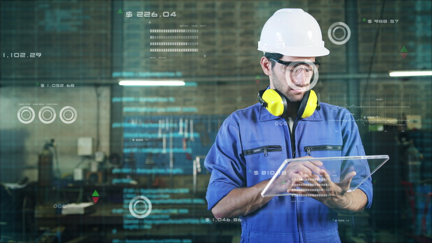 Engineer smart factory machine augmented reality digital technology futuristic, industry artificial intelligence technology app system production control Royalty-Free Stock Footage #1062877285