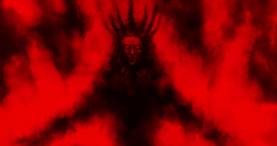 Dark ritual with dagger. Falling man into trance and remembering past life. Dead king sits in throne room. Creepy cartoon, footage, vj loop, fx. Scary animated 4K movie teaser. Horrible hell visions. | Shutterstock HD Video #1062877546