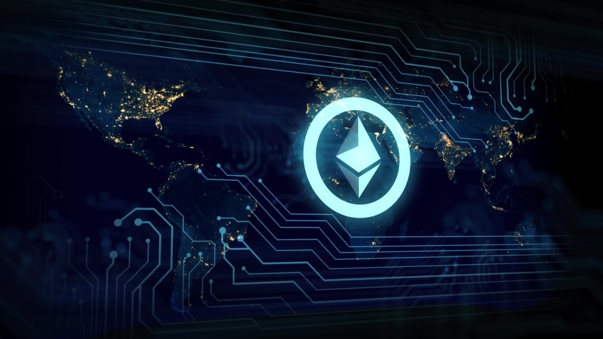 Abstract animation of Ethereum ETH digital virtual currency symbol in digital cyberspace. Electronic circuit board PCB parts in background. Concept of De-Fi economics and mining or staking Royalty-Free Stock Footage #1062881014