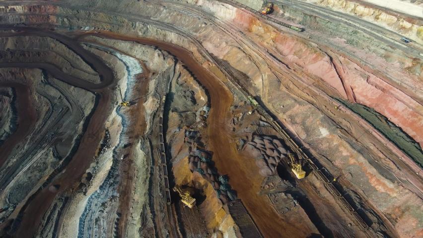 Iron ore open pit iron ore open pit aerial survey 4K video.