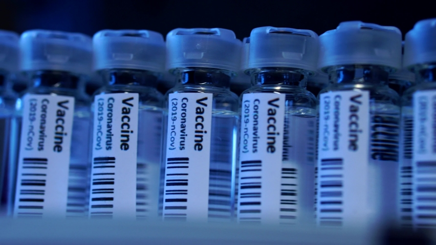Covid-19 Coronavirus Vaccine Production Line, Cinematic Close Up Of Vaccination Manufacturing. | Shutterstock HD Video #1062884629