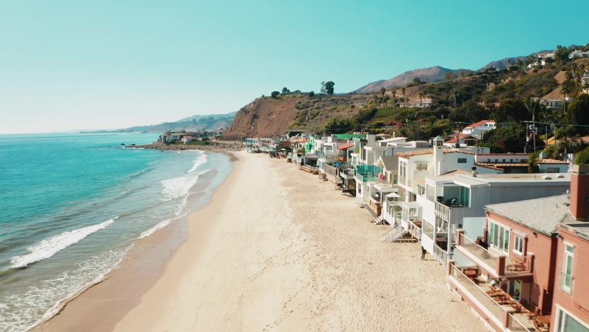 Aerial of Malibu La Costa Beach. Real Estate in California. Most Expensive, Prestigious  and Luxurious Beach Ocean Front Properties. Cinematic Aerial of Malibu Communities.