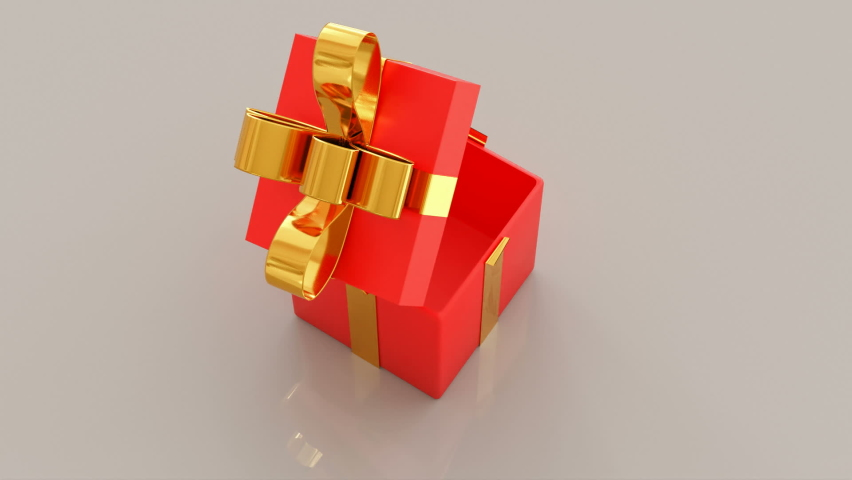 Gift boxes opening. Animation of 4 different Christmas gifts with nice ribbons opening. 3d rendering | Shutterstock HD Video #1062890386