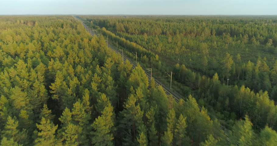 Aerial view of fast passenger train driving on railroad in forest at sunset Royalty-Free Stock Footage #1062895927