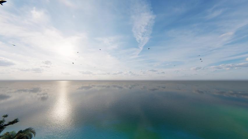 4K. Dramatic sea sunrise. Burning sky and shining golden waves. Atlantic Ocean beach sunsets. 3D Rendering.    Shutterstock HD Video #1062897178