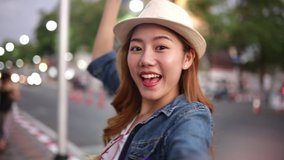 Traveler Asian blogger women travel in Bangkok, Thailand, beautiful female using mobile phone make vlog and live in social media .woman tourist making video call with smartphone while traveling .