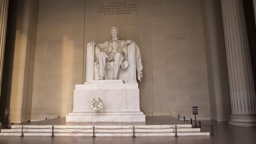 Tracking Shot of the Lincoln Statue in the Lincoln Memorial Empty