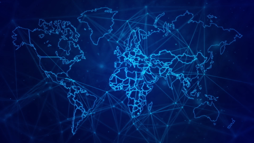 Dark blue background with world map contour lines. Line shape digital world map for global network business event theme. | Shutterstock HD Video #1062904060