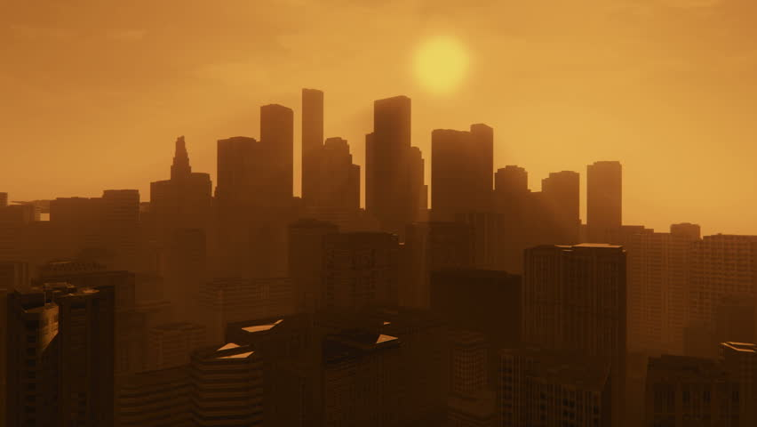 Camera moves through silhouettes of abstract skyscrapers in downtown at sunset. Realistic 3D animation. #10629086