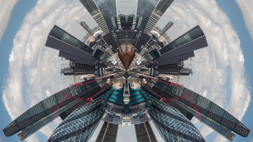 Tiny Planet round lens timelapse footage of London from above with clouds in sky | Shutterstock HD Video #1062910090