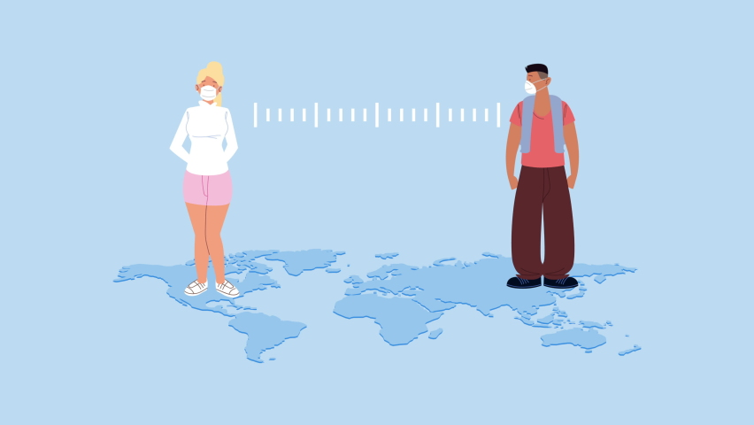 Couple wearing medical masks characters with social distance in earth maps ,4k video animated | Shutterstock HD Video #1062910645