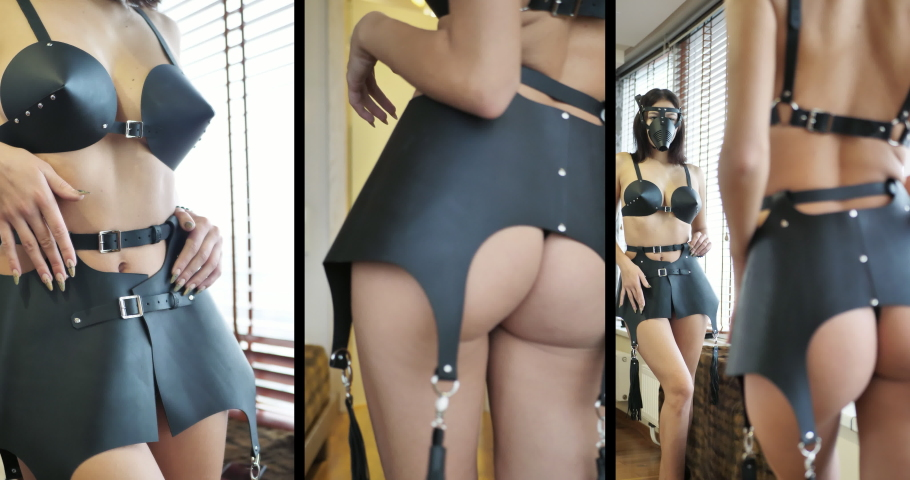 Young woman in sexy leather underwear. woman with elastic buttocks and with a whip in a sexy suit before a session of sexual joys. The concept of secret desires