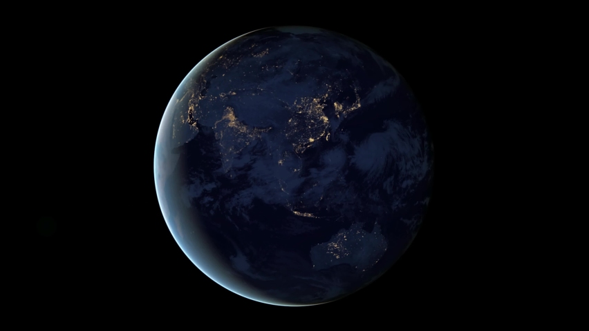 Animation of Earth seen from space, the globe spinning on satellite view on dark background. Rotation of The Planet Earth | Shutterstock HD Video #1062919099