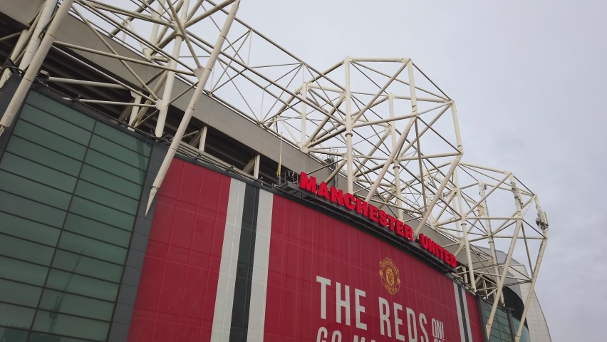 MANCHESTER, UK - 2020: Old Trafford stadium roof in Manchester UK