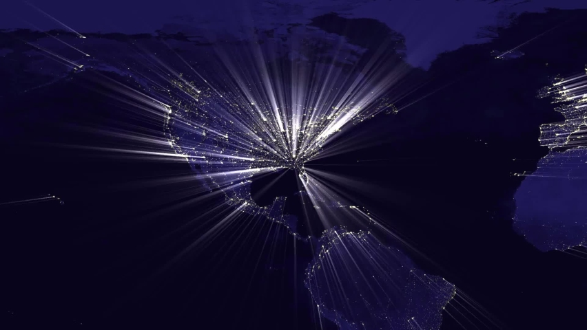 Animation of worldwide map in night with rays | Shutterstock HD Video #1062920239