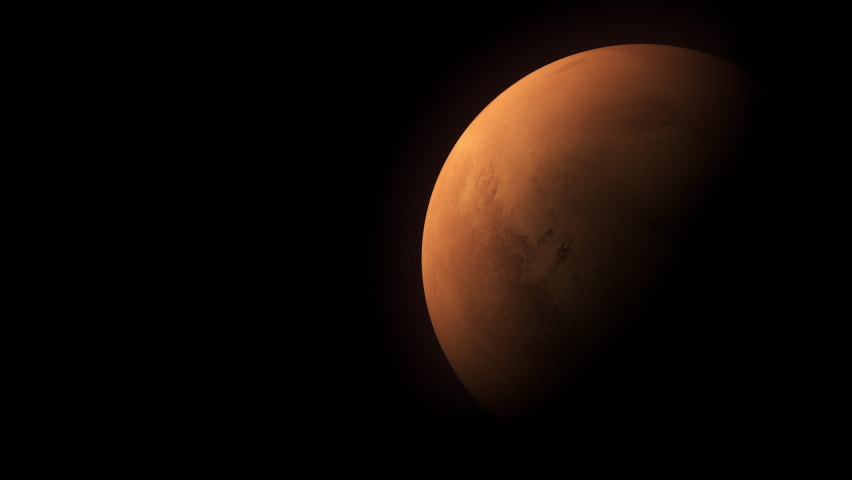 Martian Orbit Or Mars Planet In Space with illuminated craters and Martian mountains.  | Shutterstock HD Video #1062931279