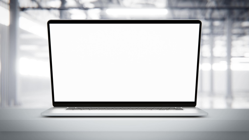 Laptop blank screen opening with screen switching on - factory industrial background. Luma matte for laptop and screen included   Shutterstock HD Video #1062933556