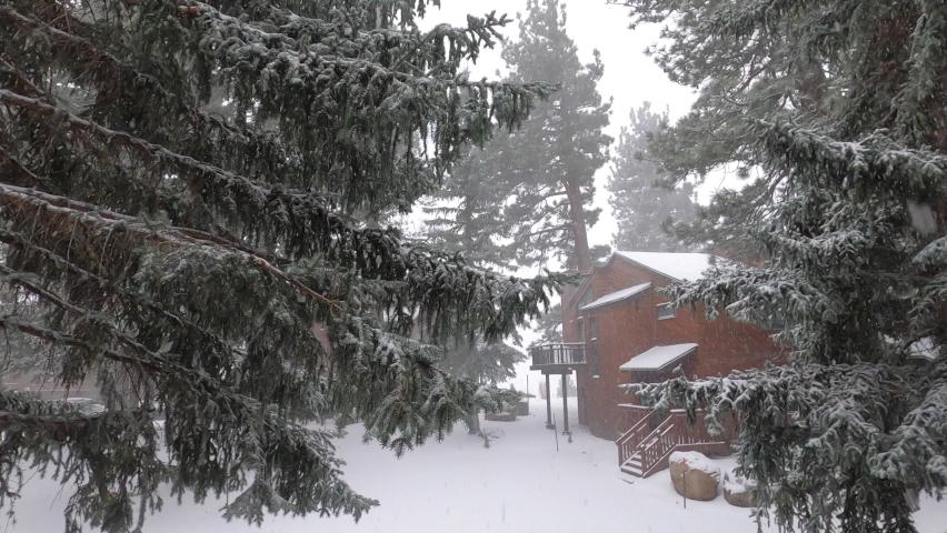 Winter Balcony falling snow in 4K | Shutterstock HD Video #1062952624