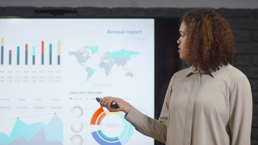 Medium closeup of young smiling mixed race woman making report in front of colleagues switching slides with charts and diagrams on big screen projector at modern room   Shutterstock HD Video #1062965233